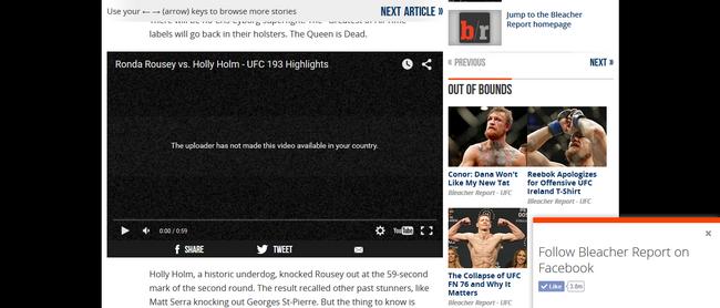 Une vidéo de UFC sur Bleacher Report - Avant (sans VPN)