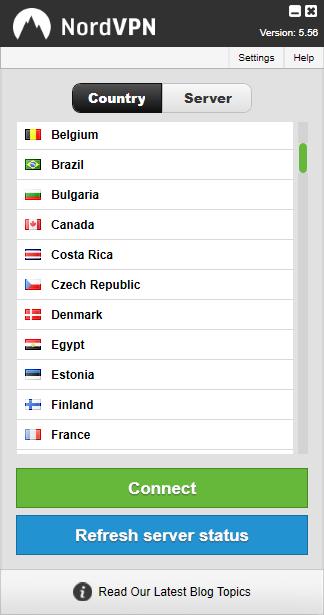 NordVPN - Liste des pays disponibles