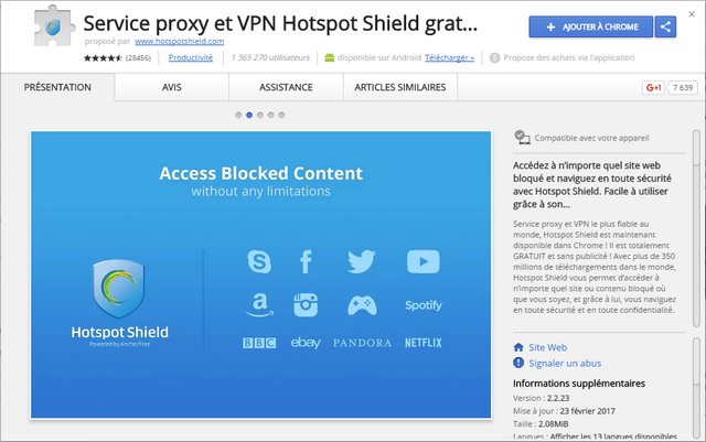 Hotspot Shield - Extension Google Chrome