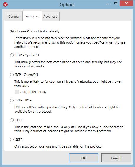 ExpressVPN - Protocoles disponibles