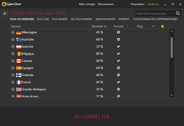 CyberGhost VPN - Liste des serveurs VPN
