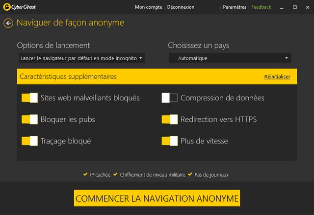 CyberGhost VPN - Naviguer de façon anonyme