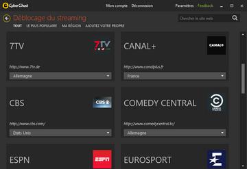 CyberGhost VPN - Débloquer les plateformes de streaming
