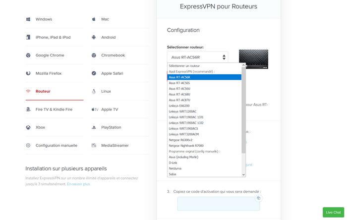 Installer ExpressVPN Routeur
