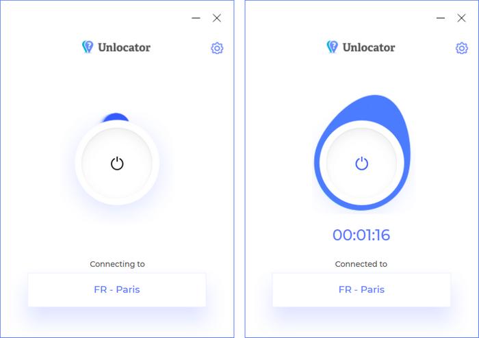 Unlocator VPN - Connexion