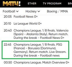 PSG - Dortmund sur Match TV