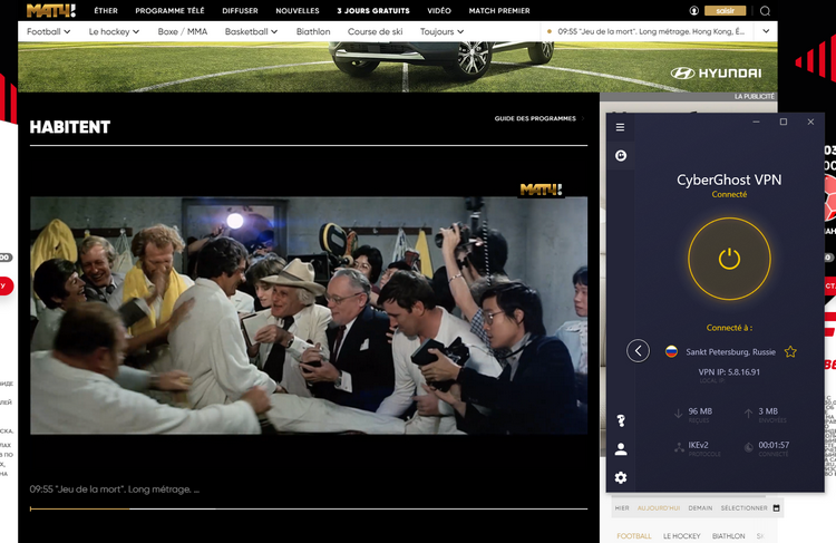 Match TV avec CyberGhost