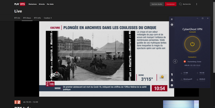 Preuve que CyberGhost fonctionne pour regarder RTS depuis la France