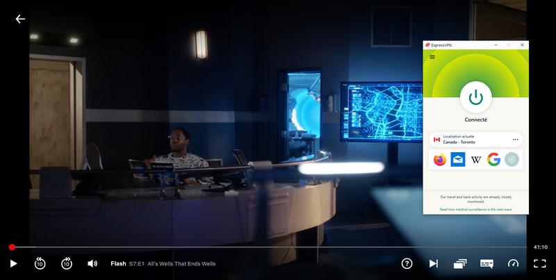 Preuve qu'ExpressVPN fonctionne pour regarder The Flash Saison 7 sur Netflix