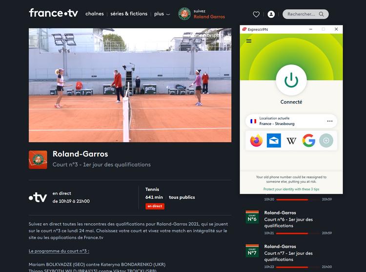 Roland Garros sur France TV depuis l'étranger, avec ExpressVPN