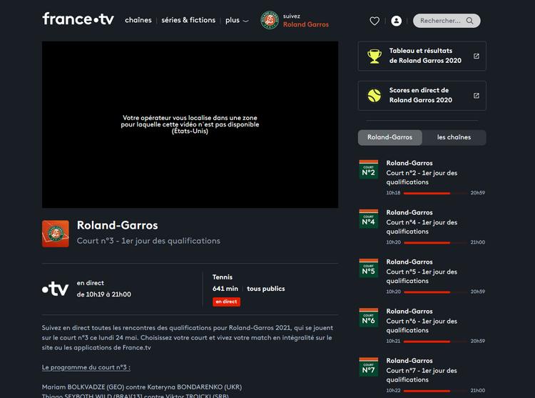 Roland Garros sur France TV depuis l'étranger, sans VPN