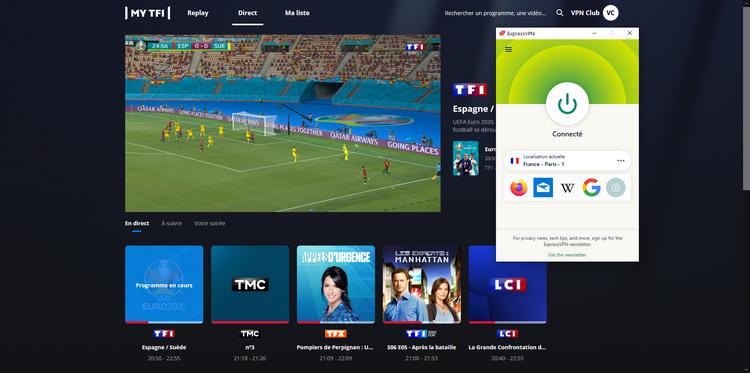 TF1 depuis l'étranger, avec ExpressVPN