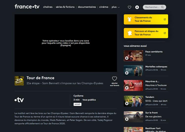 Tour de France sur France TV depuis l'étranger, sans VPN