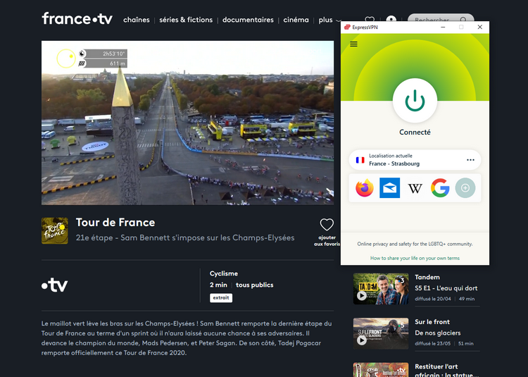 Tour de France depuis l'étranger, avec ExpressVPN
