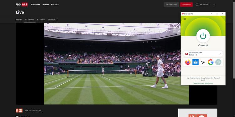 Wimbledon sur RTS depuis la France, avec ExpressVPN
