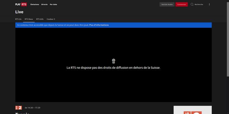 Wimbledon sur RTS depuis la France, sans VPN