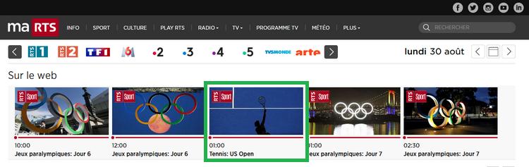 US Open sur RTS