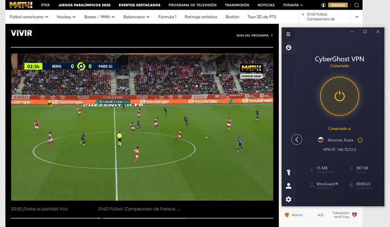 Stream de Match TV, avec CyberGhost VPN